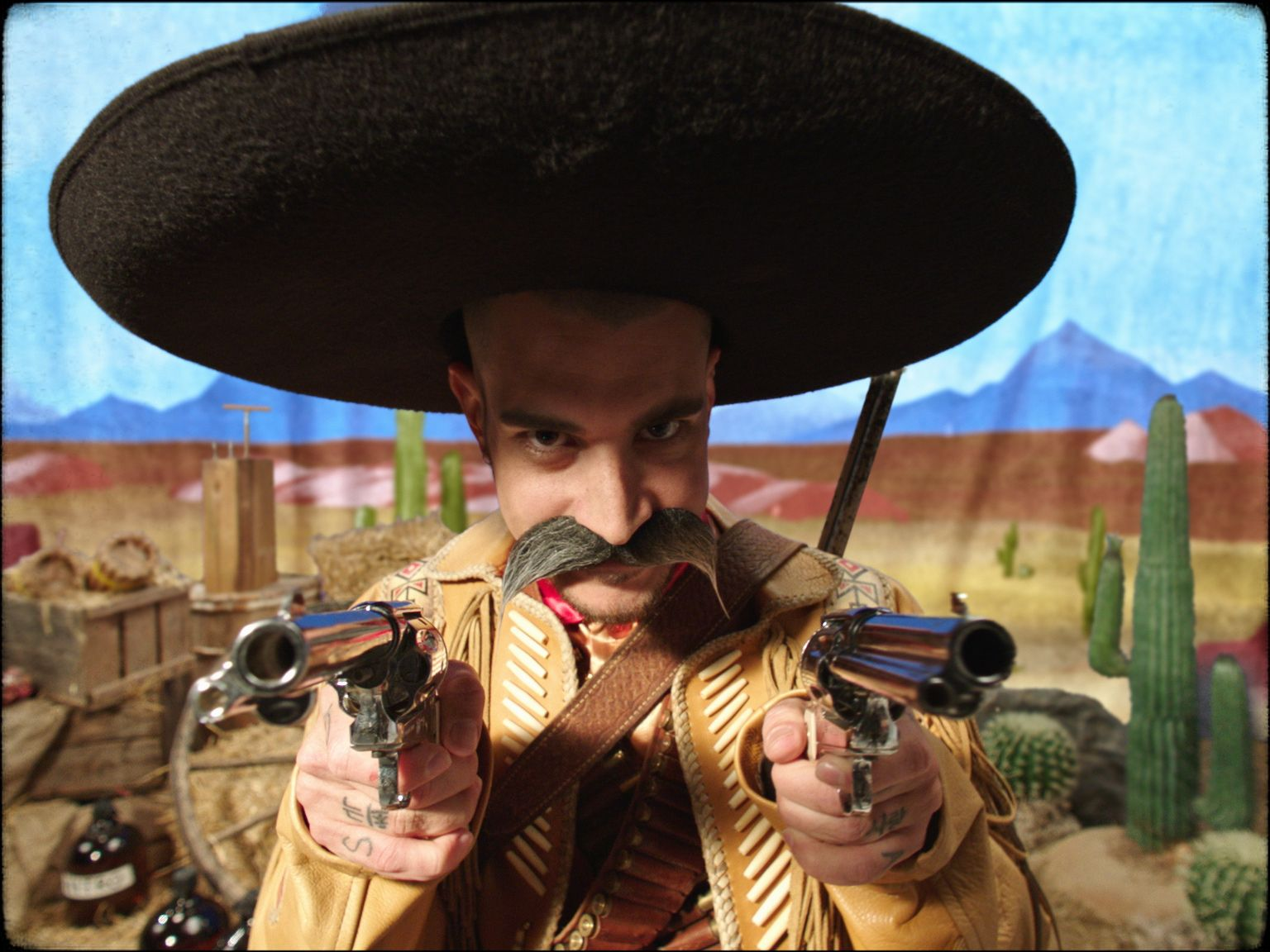 rapper Koriass wearing mexican cowboy costume in music video 5 à 7 filmed by Vincent Ruel-Cote from Les Gamins with 7ieme Ciel Records