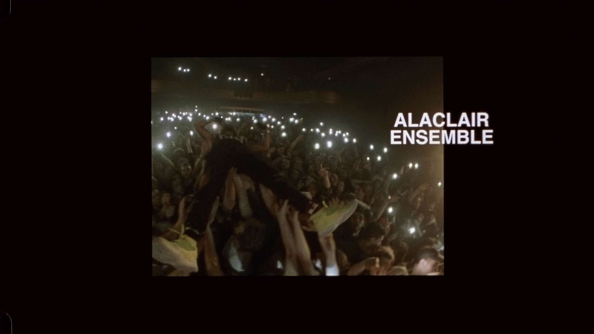 Alaclair Ensemble singer crowdsurfing while singing for L'Osstidfilm documentary filmed by Vincent Ruel-Cote from Les Gamins about L'Osstidtour