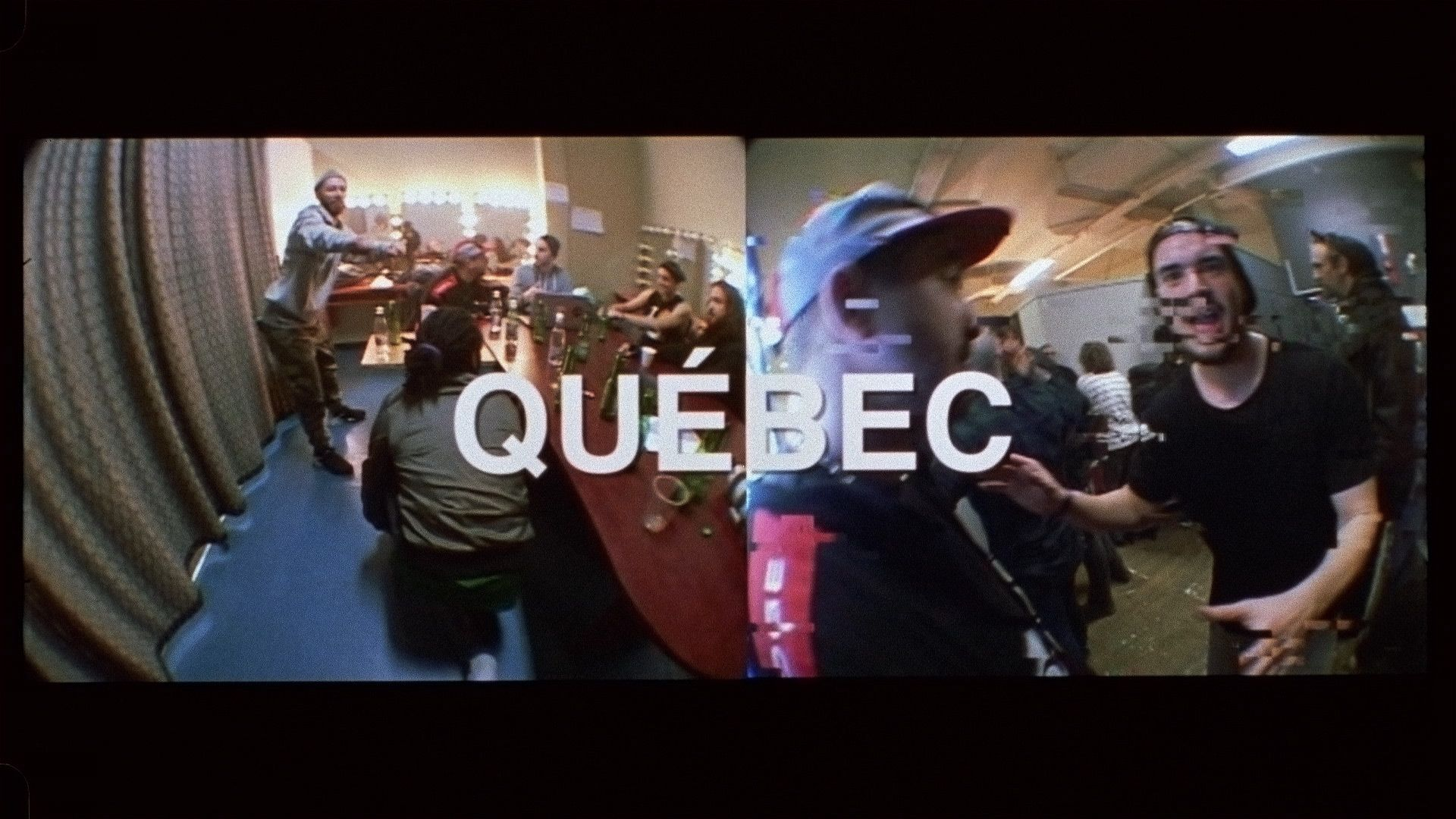 Alaclair Ensemble bandmates with Koriass and Brown backstage in Quebec city being silly in front of camera for L'Osstidfilm documentary filmed by Vincent Ruel-Cote from Les Gamins about L'Osstidtour