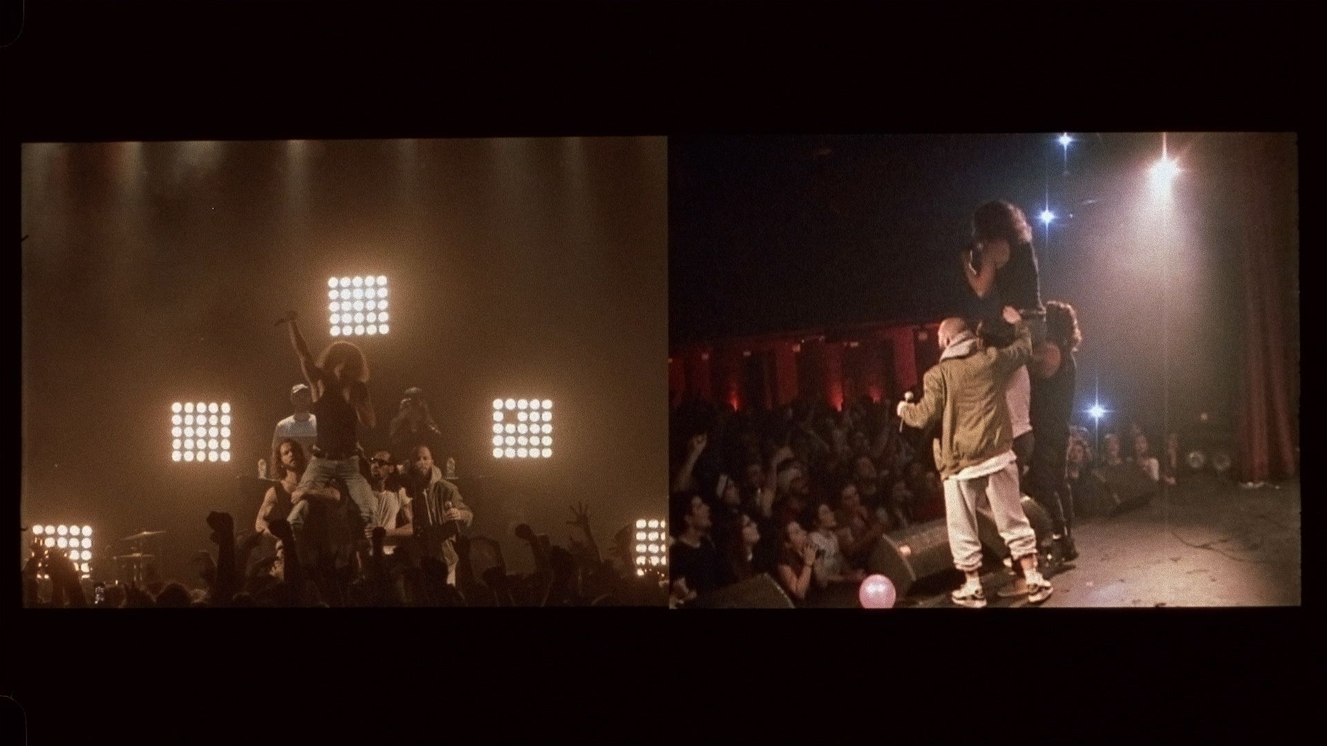 Alaclair Ensemble singer sitting on shoulders of his bandmates while singing fist up in the air for L'Osstidfilm documentary filmed by Vincent Ruel-Cote from Les Gamins about L'Osstidtour
