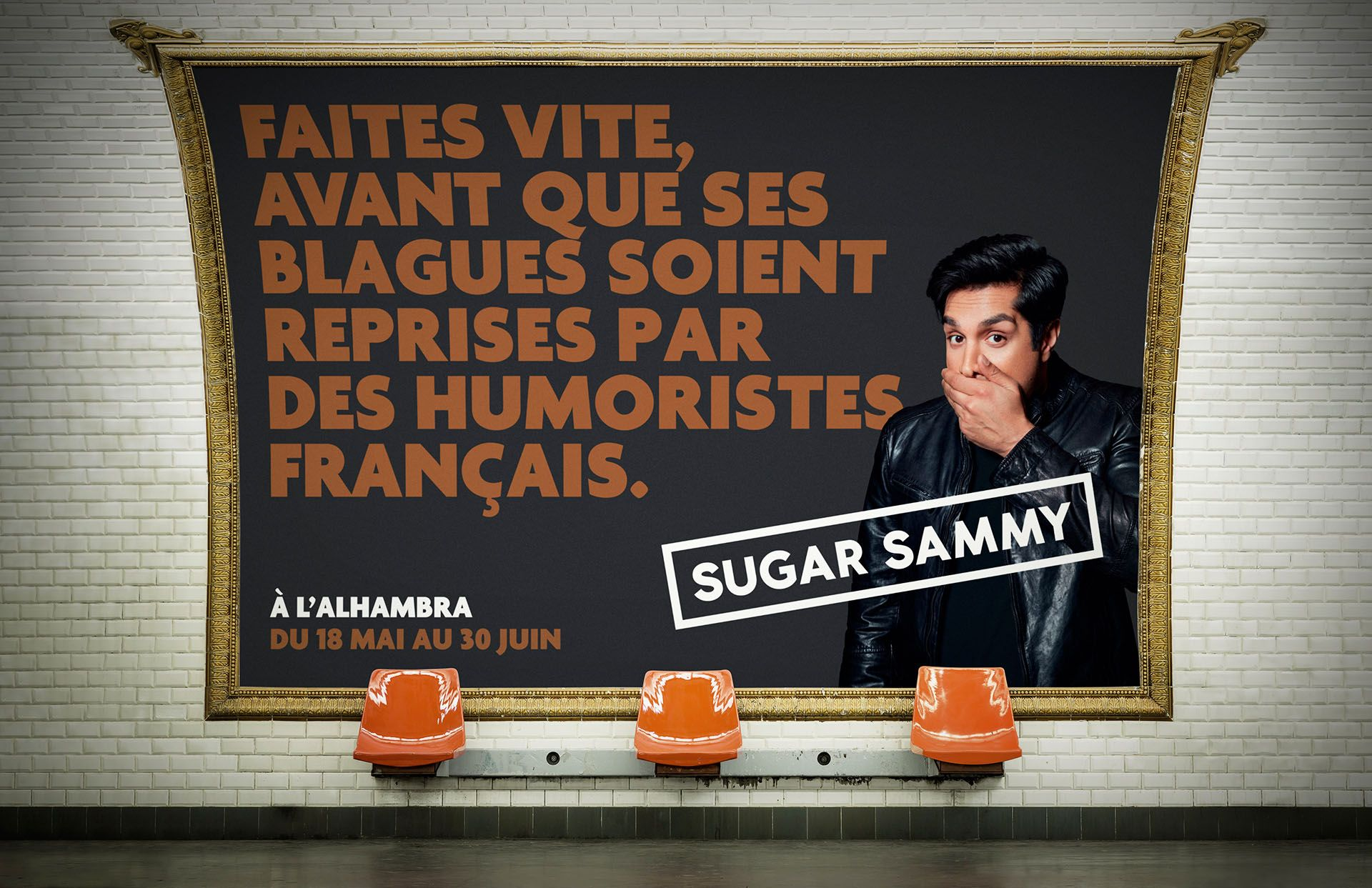 mockup of humorist Sugar Sammy show ad in metro