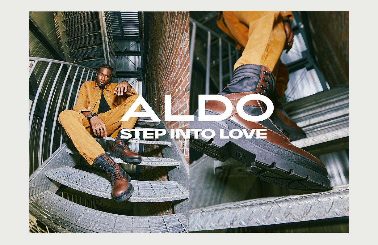 Picture of a black model posing with aldo shoes in a staircase by night