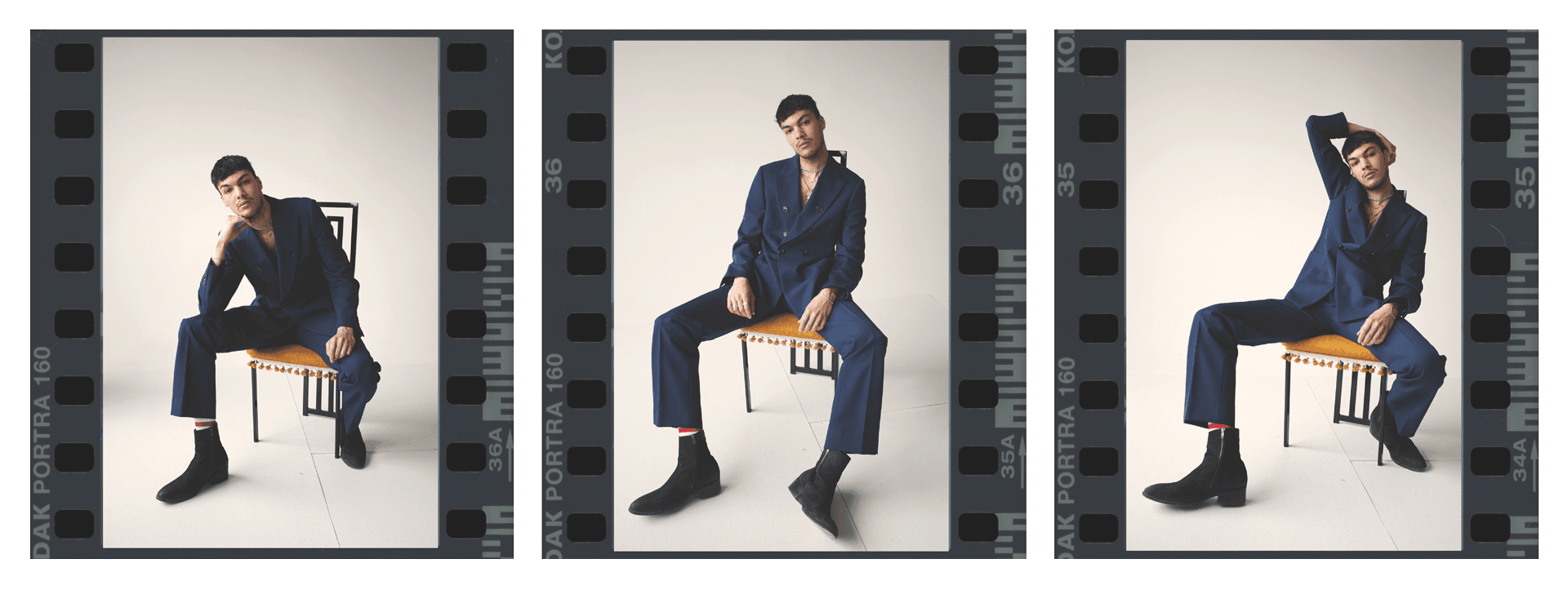 male model sitting on designer chair wearing dark blue suit jacket and pants with black heeled shoes in three polaroid series for Collector's Cut by Hyperbureau with styling and artistic direction by Studio TB