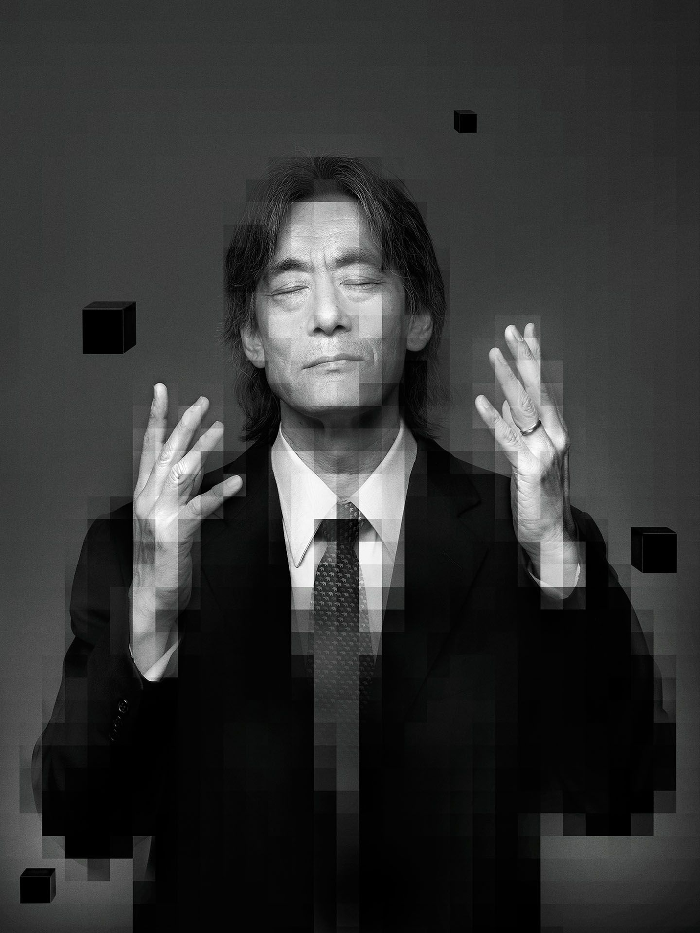 portrait of orchestra director Kent Nagano hands up eyes closed with pixel effect by Jocelyn Michel for Voir