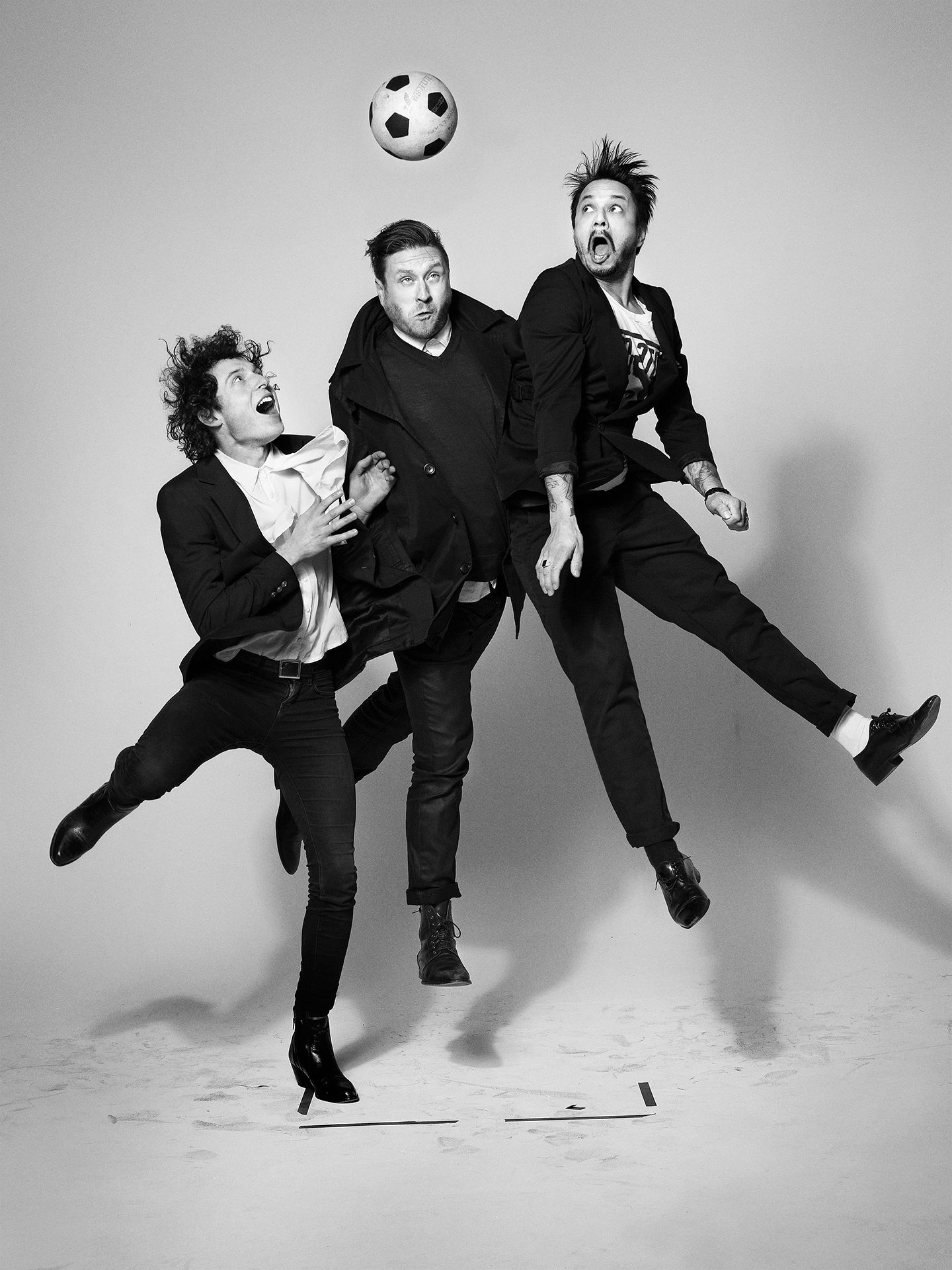 We Are Wolves music group photographed jumping in the air by Jocelyn Michel for JUMP personal series
