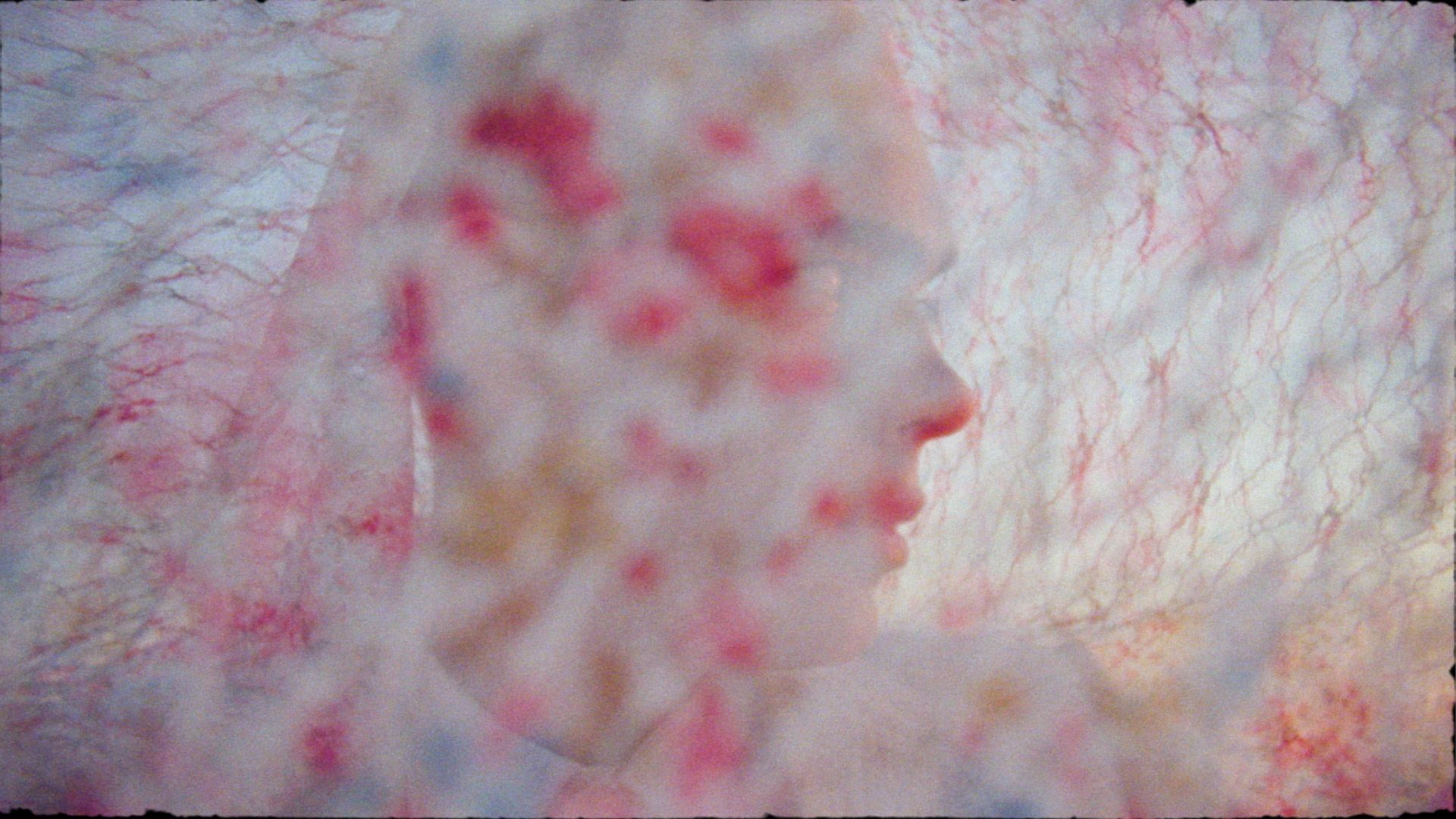 singer Yuki Dreams Again under flowery colourful piece of lace fabric in their promotional video filmed by Les Gamins