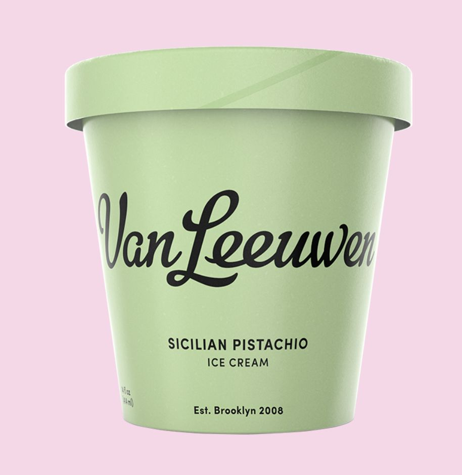 tub of sicilian pistachio ice cream by Van Leeuwen