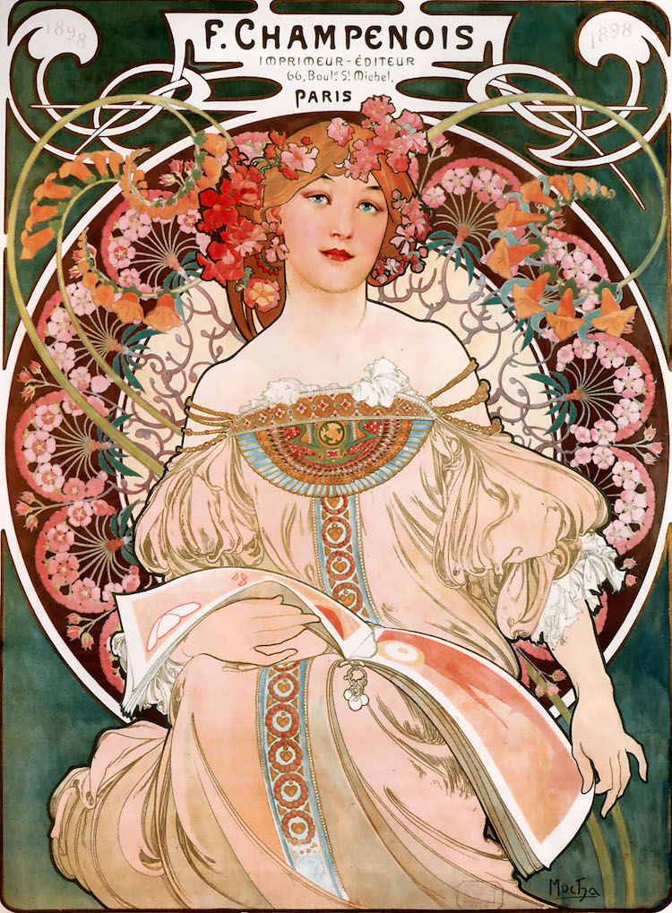 Alphonse Mucha's F. Champenois France art nouveau painting