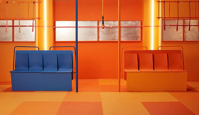 décor de bus de la séance photo de Simon Duhamel pour ICI Première